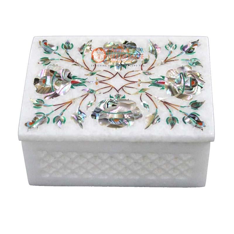 pauashell box, jwelery box,decorative box,storage box,home decor box,housewarming gift,inlay box,floral box,marble box,white marble box