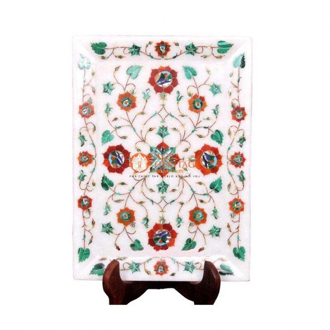 tray,marble tray decor,White Tray,Marble Tray,pietradura tray,multi color stone tray,floral tray,inlaid tray ,collectible tray,decorative tray,marble interior