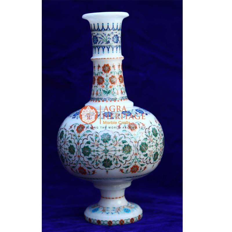 marble flower pot, white marble vase, inlay vase, handicraft vase, living room decor vase, marble decor vase for showpiece, stone marble vase
