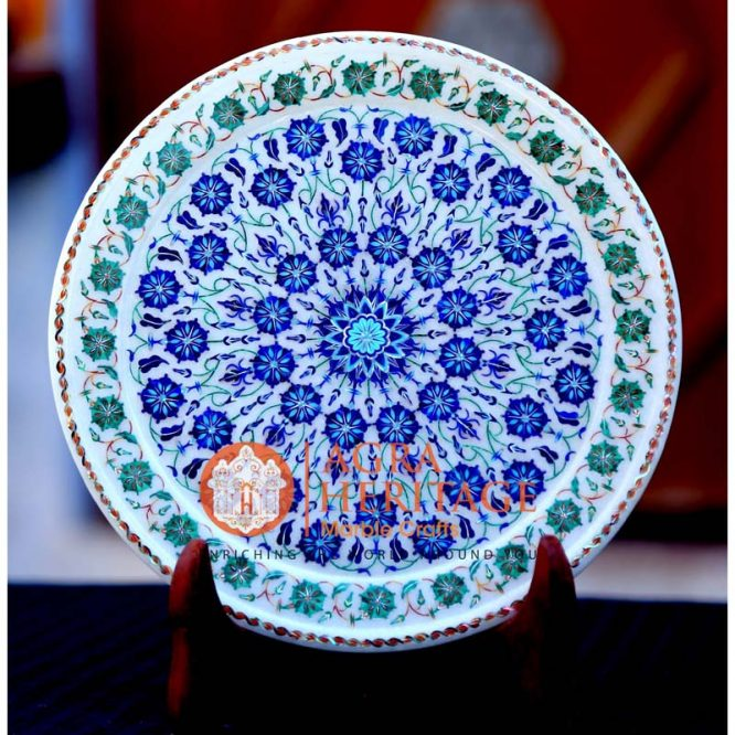 marble inlay plate, round plate, marble plate, handicraft plate, stone marble plate, makrana marble plate, serving plate, plate for home decor, white marble plate, marble plate price