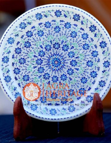 marble inlay plate, buy online marble plate, inlay serving plate, design marble plate, lapis lazuli inlay floral plate, handicraft plate, serving inlay plate decor, plate for gift, marble plate prices, white marble plate