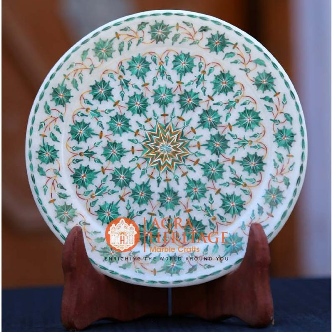marble inlay plate, buy online marble plate, inlay serving plate, design marble plate