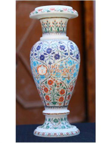 stone marble vase, white marble vase, marble inlay vase, decorative vase, multi inlay vase, decorative vase, marble stone handicraft vase, marble vase for home decor, vase for giving gift