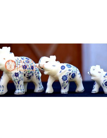 marble elephant, lapis inlay floral elephant, white marble elephant, decorative elephant, trunk up elephant, stone elephant gifts, good luck gift