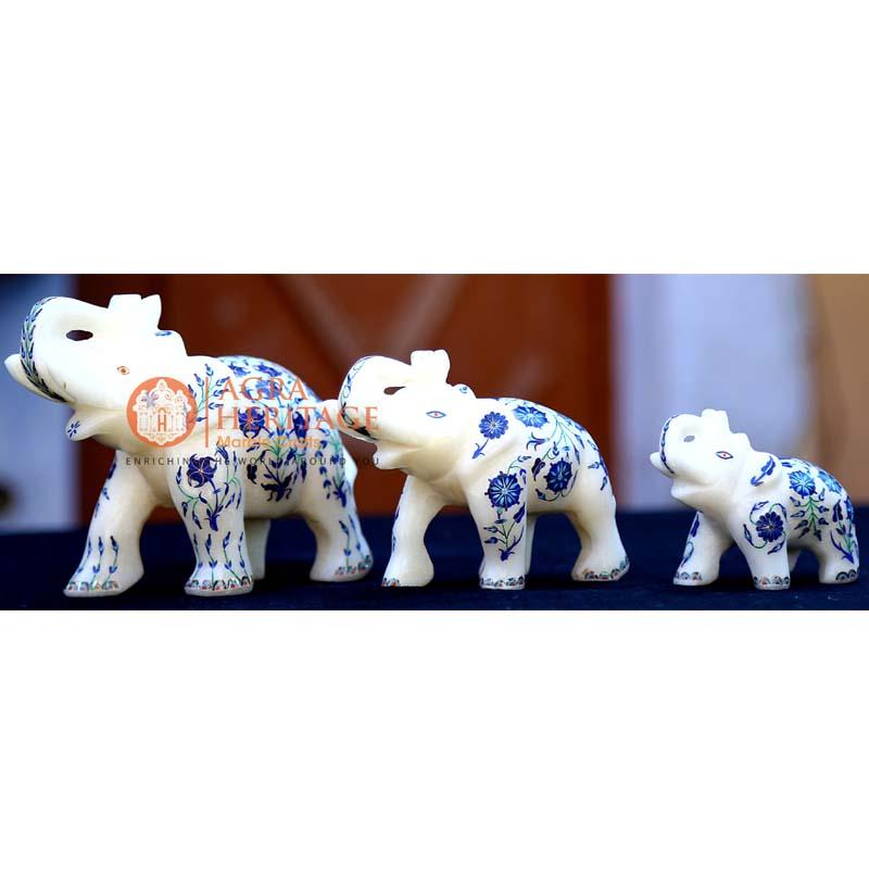 marble elephant, lapis inlay floral elephant, white marble elephant, decorative elephant, trunk up elephant, stone elephant gifts, good luck gift