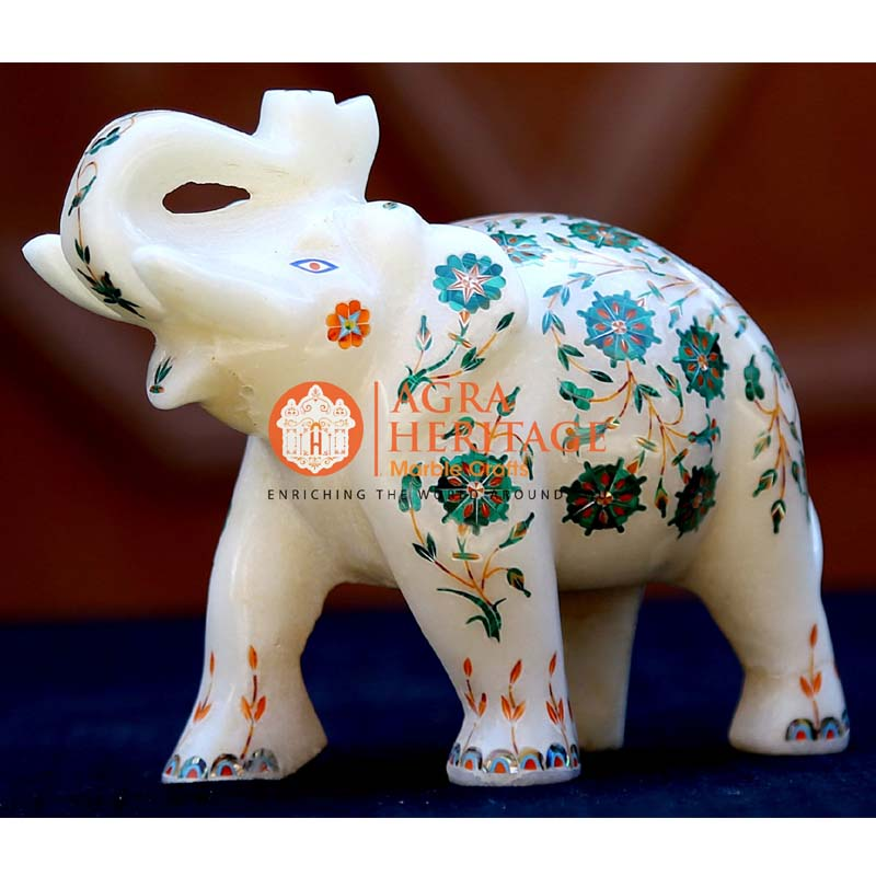 trunk up elephant, white marble elephant, elephant sculpture, elephant gift, inlay elephant, handicraft elephant, elephant for showpiece gift