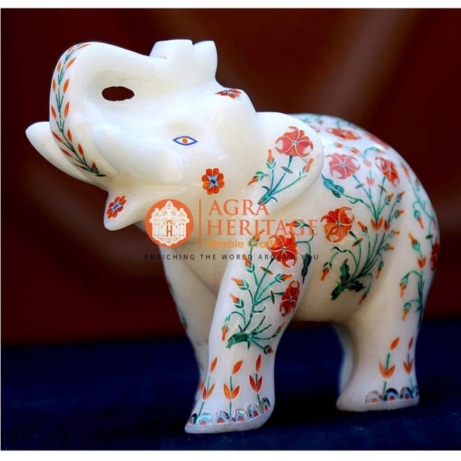 marble elephant figurine, white marble elephant, elephant statue, decorative elephant for gift, stone elephant statue, inlaid elephant, handicraft elephant