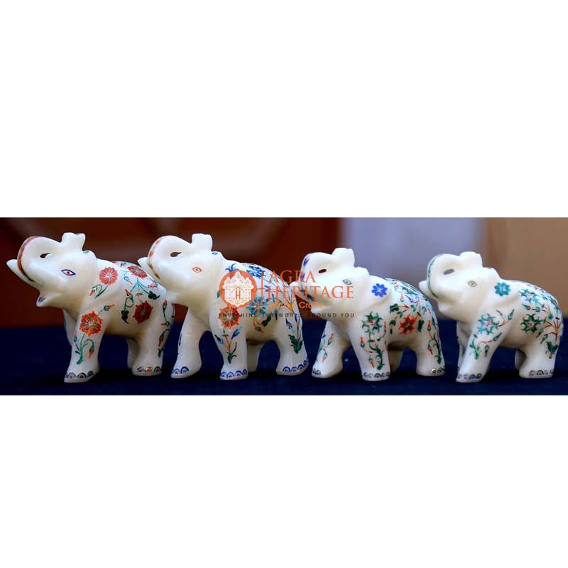 marble inlay elephant, elephant sculpture, handicraft elephant inlay statue, white marble elephant, 4 pcs of elephnat, elephant figurine, trunk up elephant, stone elephant for gifts, set of elephant for gift