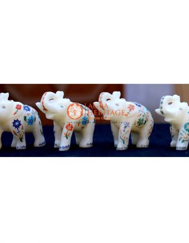 handicraft elephant inlay statue, white marble elephant, 4 pcs of elephnat, elephant figurine, trunk up elephant, stone elephant for gifts, set of elephant for gift