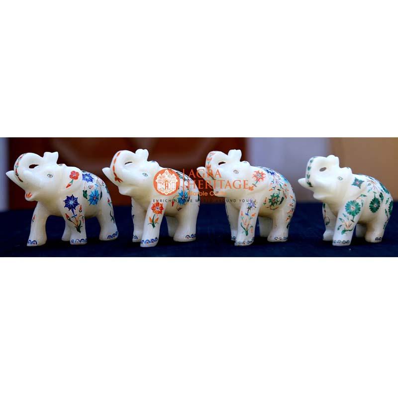 handicraft elephant inlay statue, white marble elephant, 4 pcs of elephnat, elephant figurine, trunk up elephant, stone elephant for gifts, set of elephant for gift