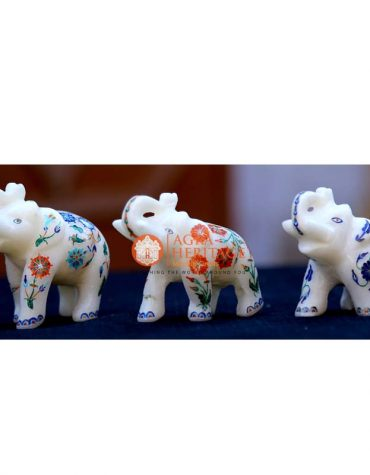 marble inlay elephant, elephant sculpture, handicraft elephant inlay statue, white marble elephant,