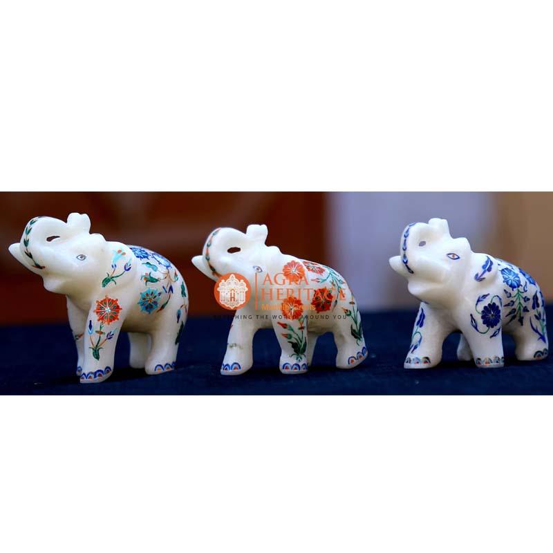 marble inlay elephant, elephant sculpture, handicraft elephant inlay statue, white marble elephant,