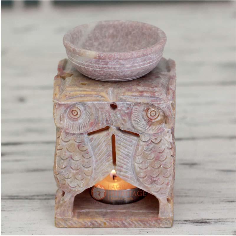 oil burner, marble oil burner, hand carved oil burner, home decor gift, living room decor, soapstone oil burner