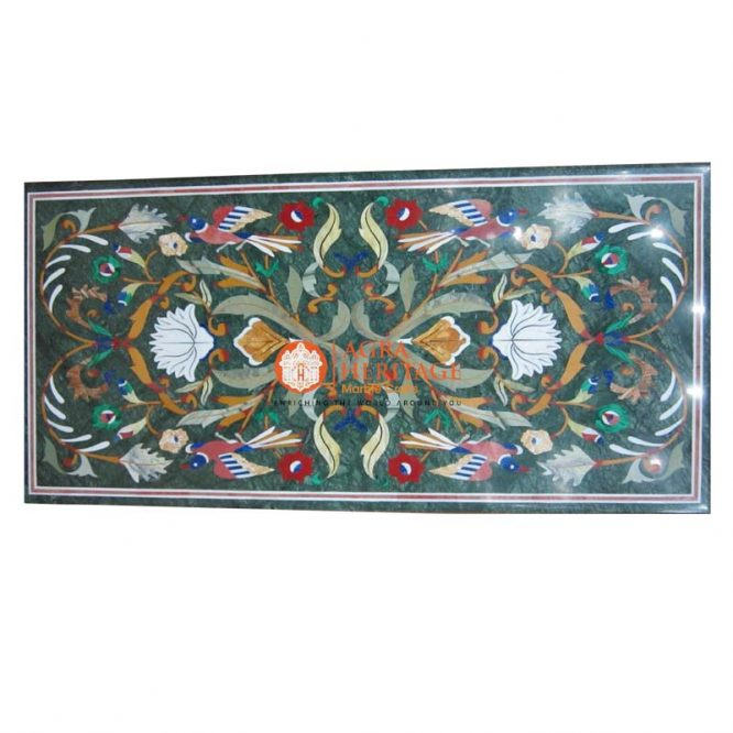 inlay pietra dura table top, top inlay stone dining table, living room table top, green marble inlay table, decorative dining table, furniture decor table