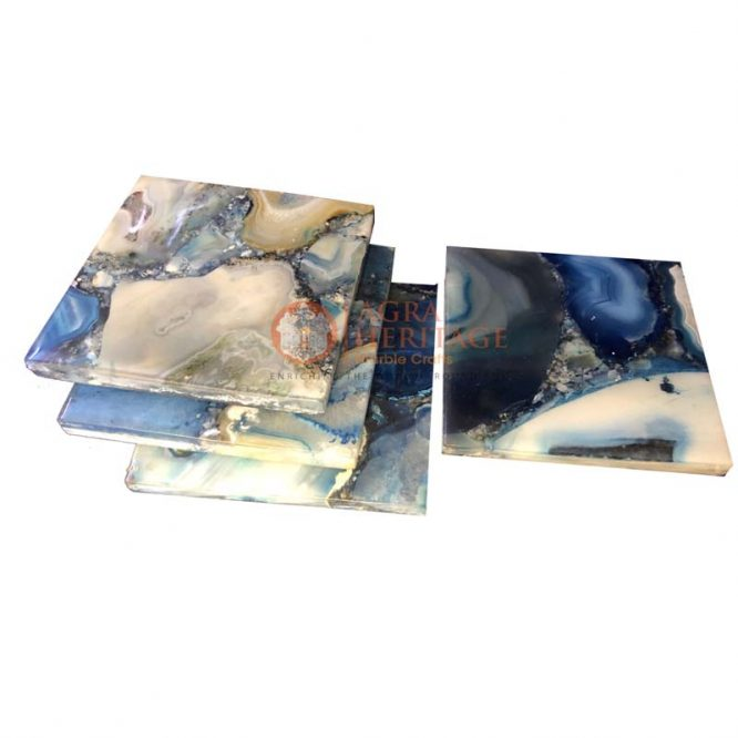 agate coaster set, coffee coaster set, decorative coasters set, square coasters, agate stone coaster set, drinkware decor, coaster set for sale, coasters online price