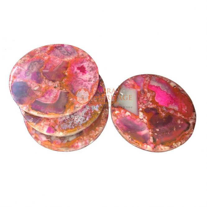 agate coaster set, agate coaster set of 4, pink agate coaster set, agate stone coaster set, agate coaster, agate coasters online india, agate coasters india, agate round coaster set